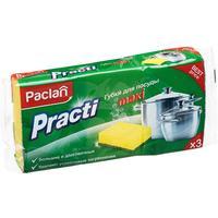 Губки для мытья посуды Paclan Practi Maxi поролоновые 95x65x35 мм 3 штуки в упаковке