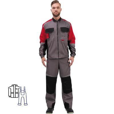Костюм рабочий летний мужской л23-КПК с СОП серый/красный (размер 52-54, рост 182-188)