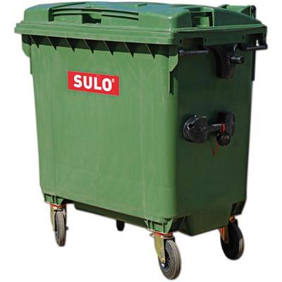 Контейнер-бак мусорный 660 л пластиковый на 4-х колесах с крышкой зеленый
