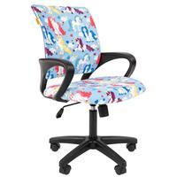 Кресло детское Chairman Kids 103 Единороги (велюр/пластик черный)