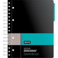 Бизнес-тетрадь Attache Selection Smartbook А5 120 листов серая/бирюзовая в клетку 1 разделитель на спирали (181х212 мм)