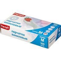 Перчатки одноразовые Paclan виниловые неопудренные белые (размер L, 100 штук/50 пар в упаковке)