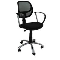 Кресло офисное Сатурн черное (сетка/ткань, металл)