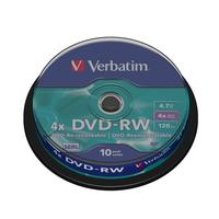 Диск DVD-RW Verbatim 4,7 GB 4x (10 штук в упаковке)