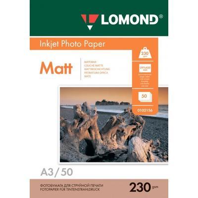 Фотобумага для цветной  струйной печати Lomond односторонняя (матовая, А3, 230 г/кв.м, 50 листов, артикул производителя 0102156)