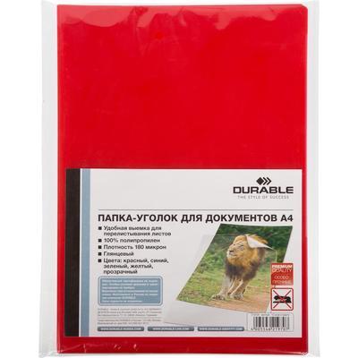 Папка-уголок Durable A4 пластиковая 180 мкм красная (10 штук в упаковке)