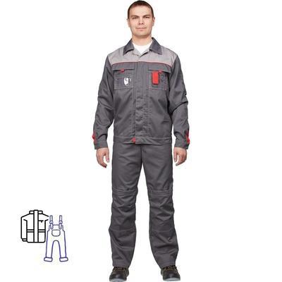 Костюм рабочий летний мужской л10-КПК темно-серый/светло-серый (размер 64-66, рост 182-188)