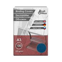 Обложки для переплета картонные ProfiOffice A3 270 г/кв.м синие текстура кожа (100 штук в упаковке)