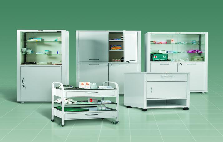 Медицинские металлические шкафы, стойки