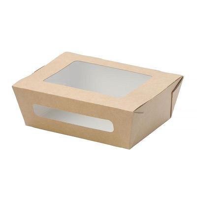 Бумажный контейнер DoEco Eco Salad 600 для салата 600 мл коричневый (150х115х50 мм, 50 штук в упаковке)