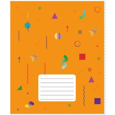 Тетрадь школьная №1 School Цветные фигуры А5 18 листов в клетку оранжевая