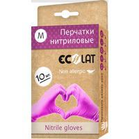 Перчатки одноразовые EcoLat нитриловые неопудренные розовые (размер M, 10 штук/5 пар в упаковке)