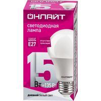 Лампа светодиодная ОНЛАЙТ 15 Вт Е 27 грушевидная 6500 К холодный белый свет