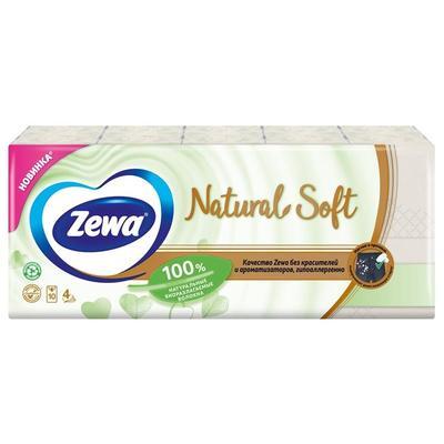 Платки носовые Zewa Natural Soft  4-слойные белые 9 штук в упаковке