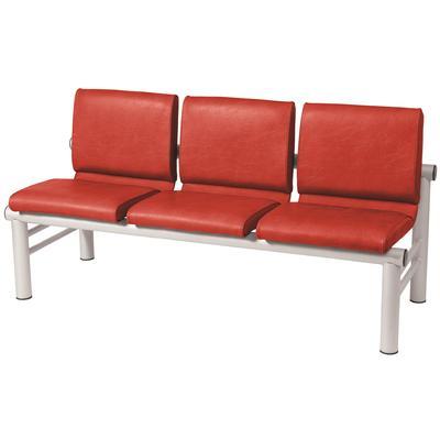 Многоместная секция Карнак красная/белая (3 места, искусственная кожа,  металл)