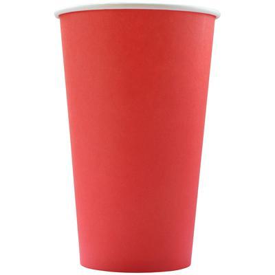 Стакан одноразовый бумажный 400 мл красный 50 штук в упаковке Комус Эконом