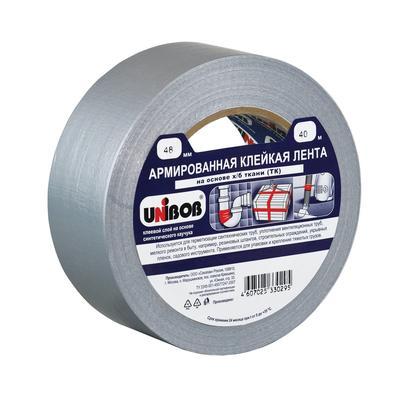 Клейкая лента армированная серая Unibob 48 мм х 40 м 50 мкм серая