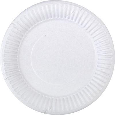 Тарелка одноразовая бумажная 165 мм белая 100 штук в упаковке Комус Бюджет