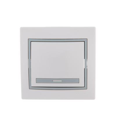 Выключатель одноклавишный Lezard Mira белый/серый (701-0215-100)
