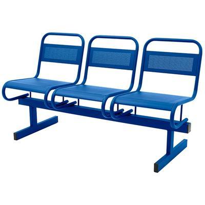 Многоместная секция Раунд СМ119-03 перфорированная синяя (3 места,  металл)