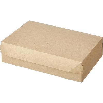 Бумажный контейнер DoEco Eco Cake 1900 для пирожных, вафель, печенья, конфет 1900 мл коричневый (230х140х60 мм, 50 штук в упаковке)